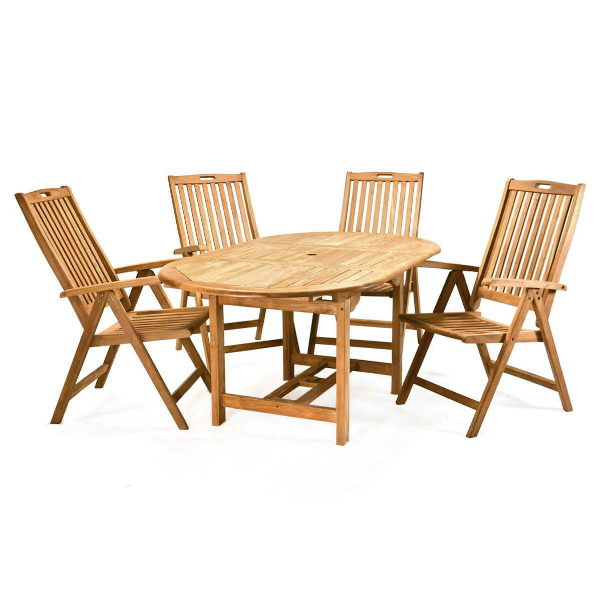Divero Set Gartenmöbel Sitzgruppe Teakholz Behandelt Tisch