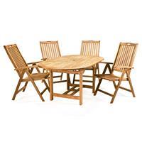 DIVERO Set Gartenmöbel Sitzgruppe Teakholz behandelt Tisch ausziehbar 170cm