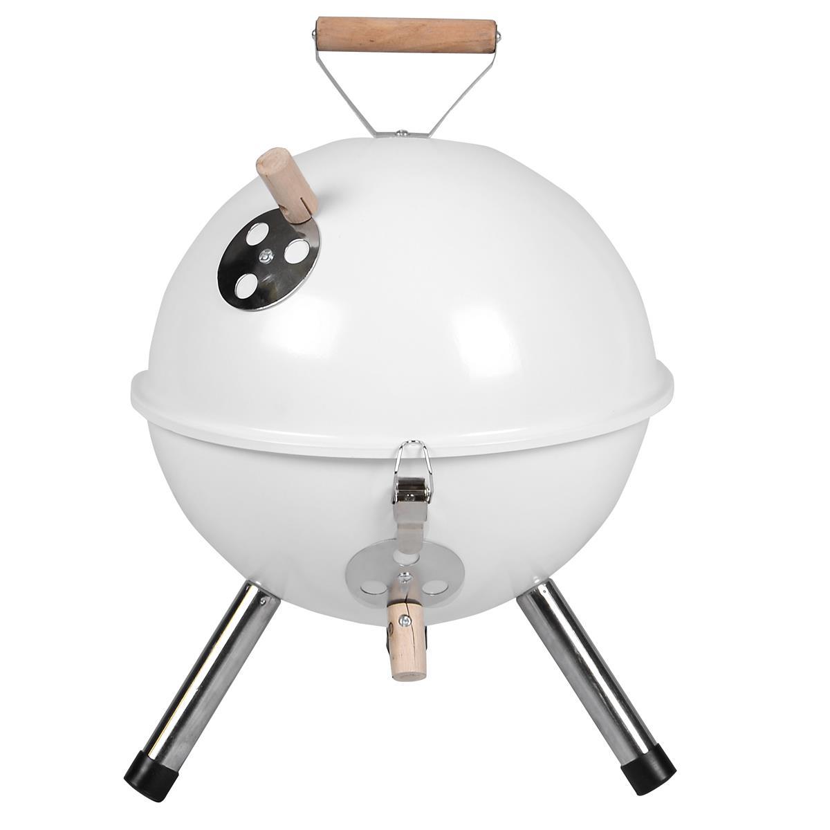 Mini BBQ-Grill Holzkohle Kugelgrill weiß Picknickgrill