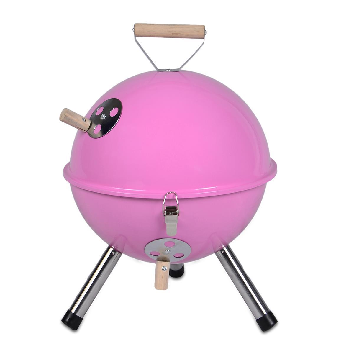 Mini BBQ-Grill Holzkohle Kugelgrill PINK Picknickgrill
