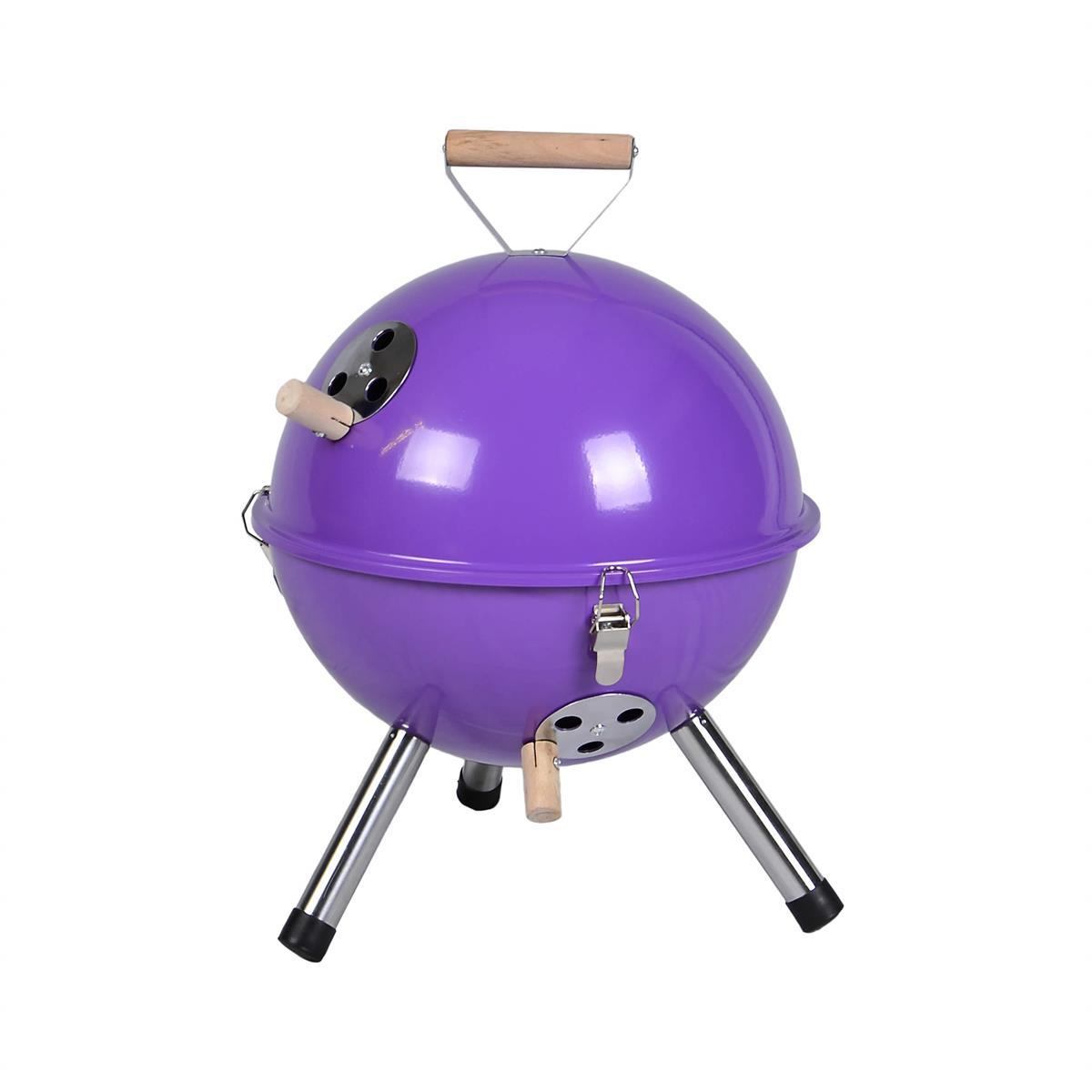 Mini BBQ-Grill Holzkohle Kugelgrill Lila Picknickgrill