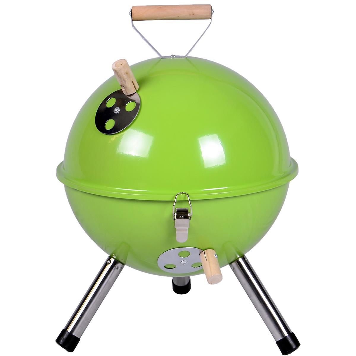 Mini BBQ-Grill Holzkohle Kugelgrill grün Picknickgrill