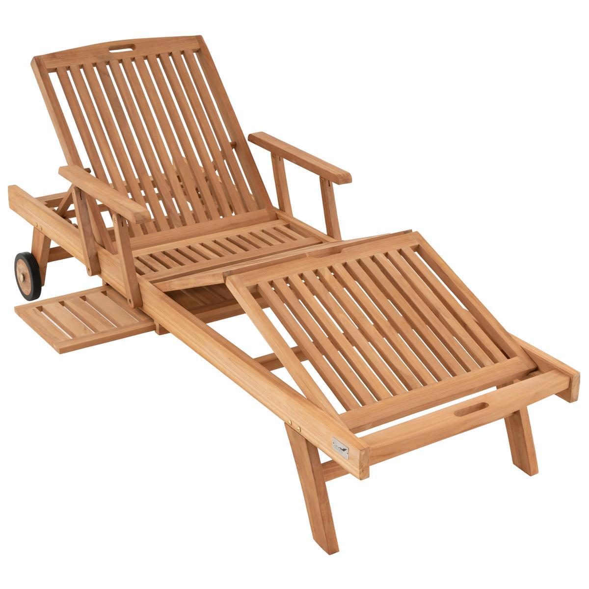 DIVERO Sonnenliege Garten Liege Räder Tablett Armlehne Teak Holz behandelt
