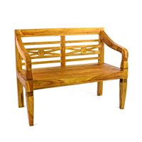 DIVERO 2-Sitzer Gartenbank Parkbank antik hochwertig Teak Holz natur 115 cm