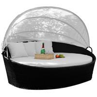 Sonneninsel Poly Rattan weiß aufklappbares Dach Lounge Rattanbett Sonnenliege