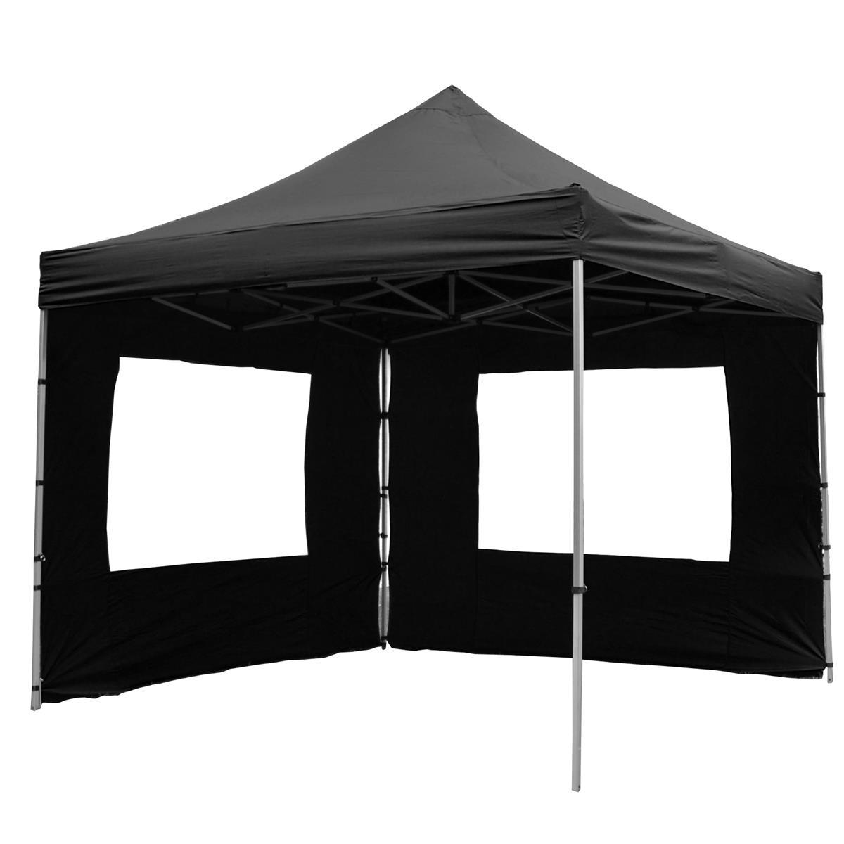 PROFI Faltpavillon Partyzelt 3x3 m schwarz mit 2 Seitenteilen wasserdichtes Dach