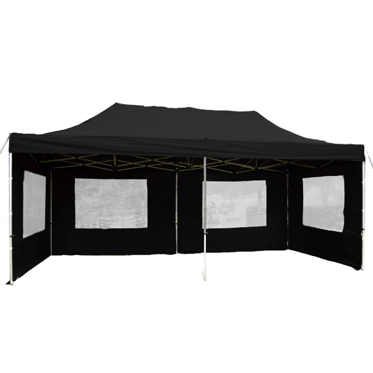 PROFI Faltpavillon Partyzelt 3x6 m schwarz mit Seitenteilen wasserdichtes Dach