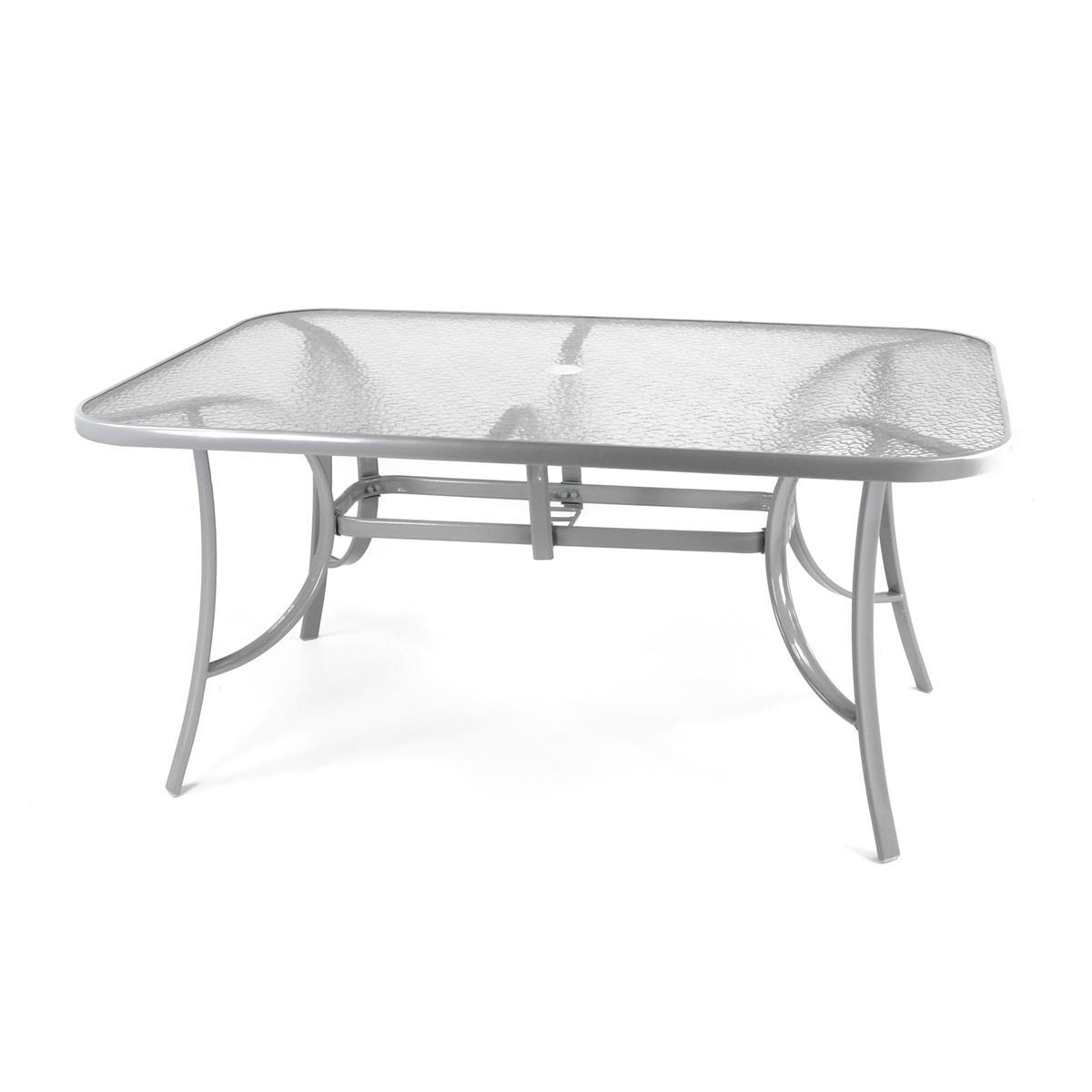 Gartentisch Esstisch Terrassentisch Glasplatte klar 150 cm - silbergrau Stahl