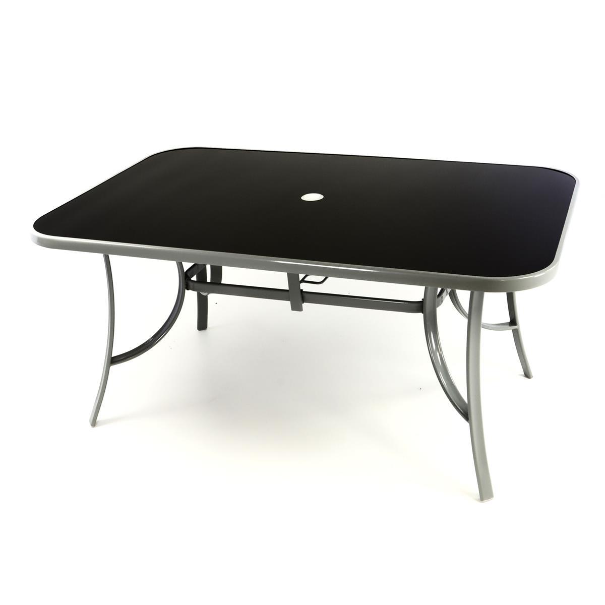 Gartentisch Esstisch Terrassentisch - Glasplatte schwarz - 150 cm - grau - Stahl