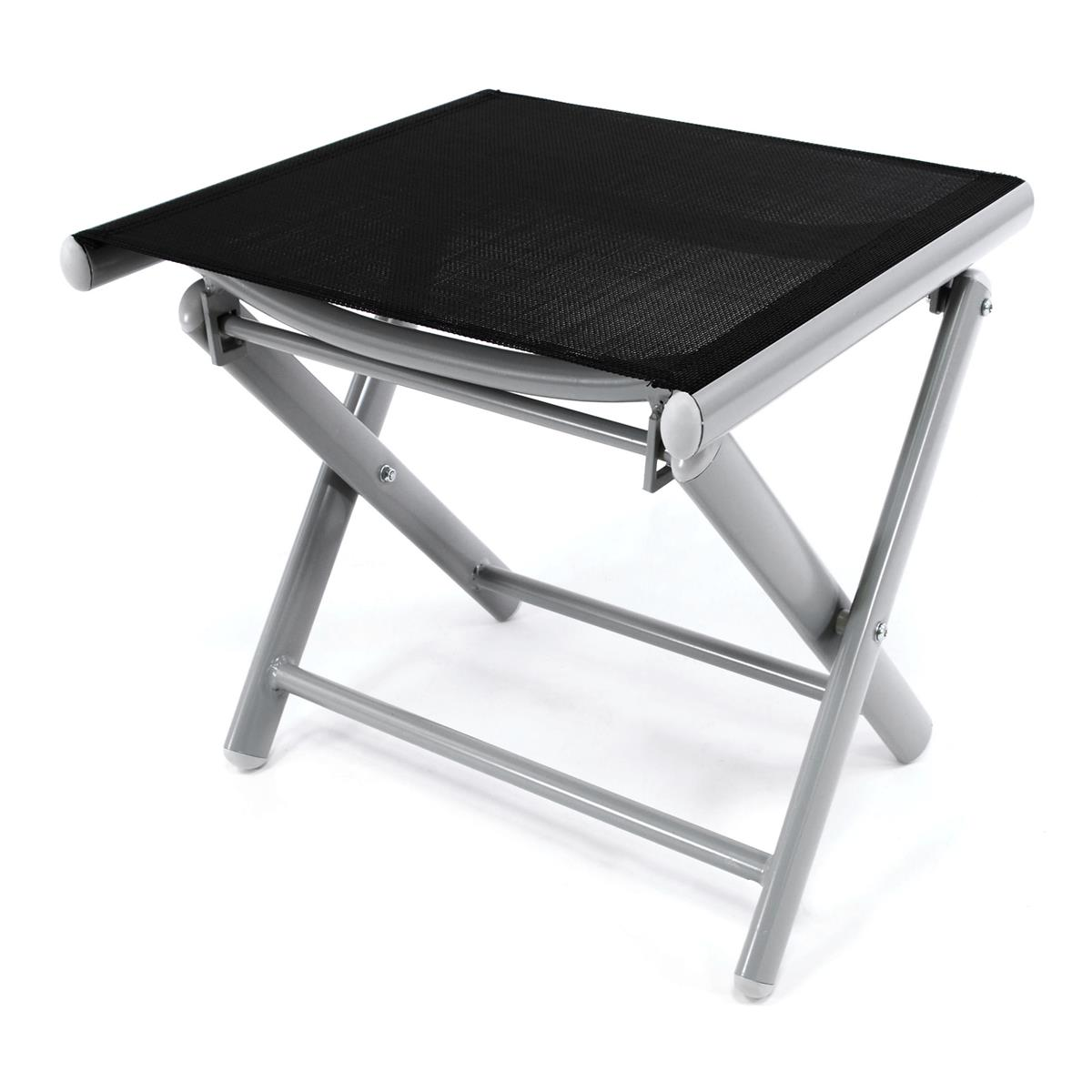Alu Hocker klappbar Sitzhocker - Textilene schwarz Rahmen hellgrau - Sitzhocker