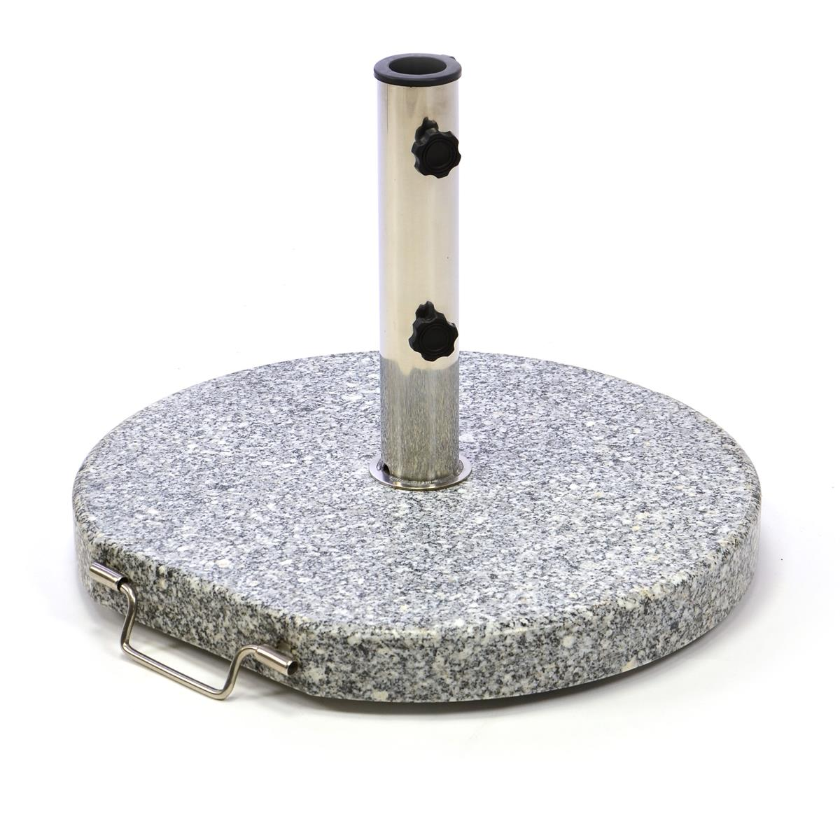 Sonnenschirmständer 20kg Granit grau rund Ø 40cm Edelstahlhülse Naturstein