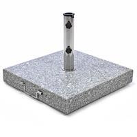 Sonnenschirmständer 50 kg Granit grau eckig Edelstahl 50 x 50 cm Griff