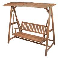 DIVERO Hollywoodschaukel Bank 3-Sitzer Garten Schaukel Teak Holz 200cm