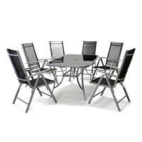 7-teiliges Gartenmöbel-Set schwarz Gartengarnitur Gartenstühle + Esstisch Alu