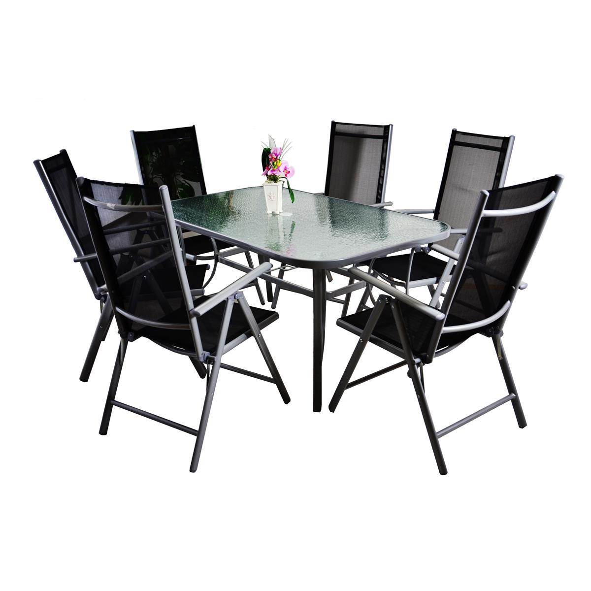 7-teiliges Gartenmöbel-Set schwarz Alu Gartengarnitur ...