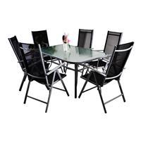7-teiliges Gartenmöbel-Set schwarz Alu Gartengarnitur Gartenstühle + Esstisch