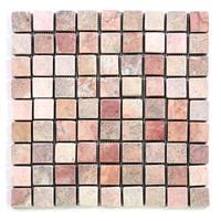 DIVERO 11 Fliesenmatten Naturstein Mosaik Marmor creme/rosa á 29 x 29 cm