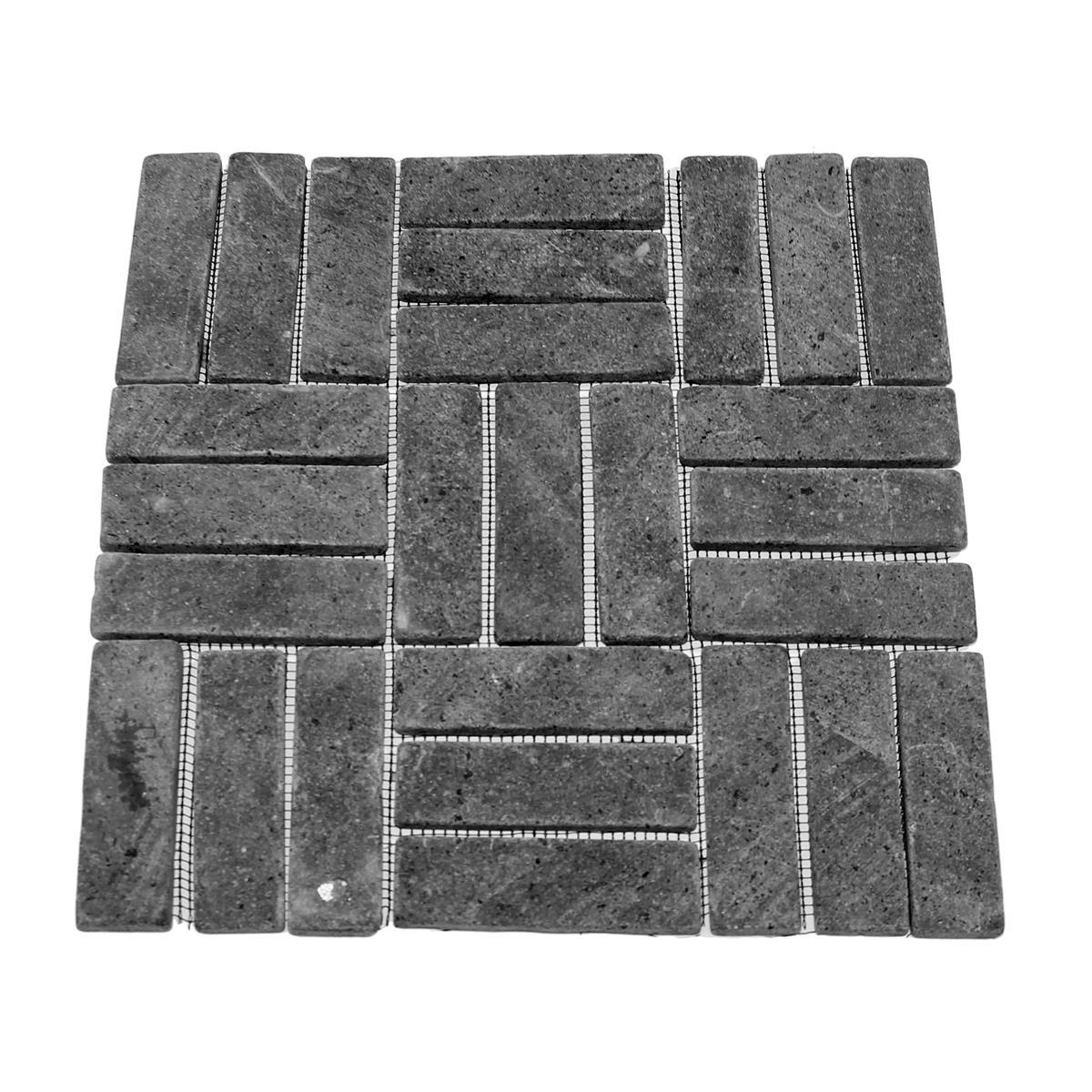 DIVERO Andesit Naturstein Stäbchen Mosaikfliesen 11 Matten Wand Boden anthrazit