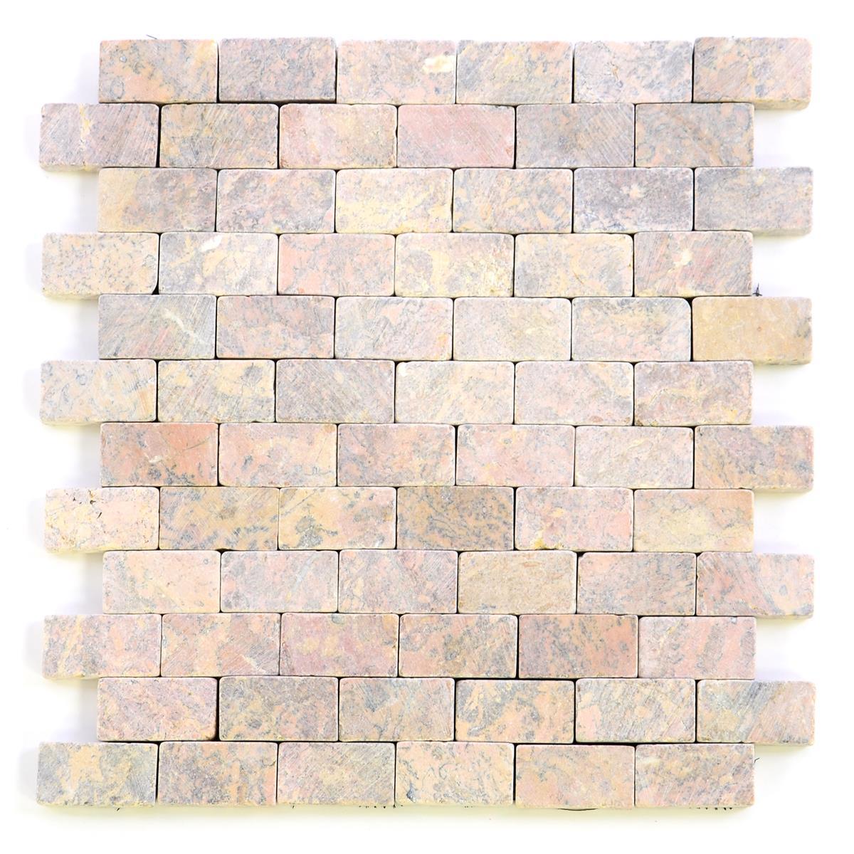 DIVERO 11 Fliesenmatten Mosaik aus Marmor beige weiß á 29 x 32 cm