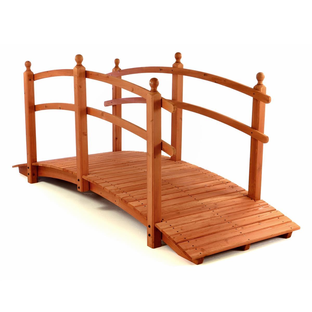 große Holzbrücke XXL Teichbrücke 250x90x110 mit Geländer rot braun Gartenbrücke