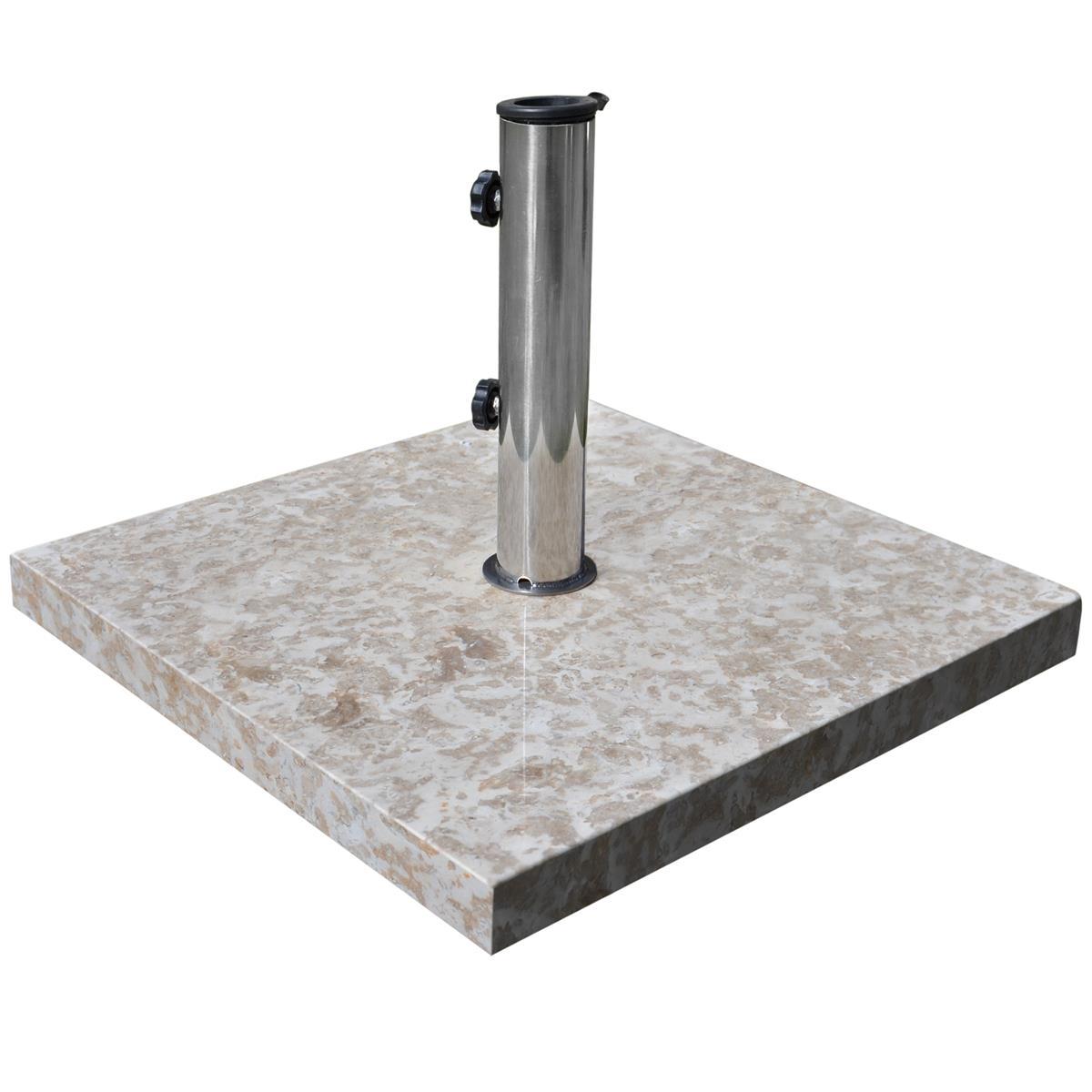 Sonnenschirmständer 25kg Marmor poliert grau quadratisch Edelstahlrohr 50 x 50cm
