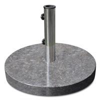 Sonnenschirmständer 25kg Marmor poliert grau rund Edelstahl Ø50cm Naturstein