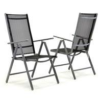 2er Set Klappstuhl Aluminium Komfortbreite Textilene schwarz Rahmen grau Garten