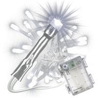 50 LED Lichterkette mit Timer weiß transparentes Kabel Aussen Batterie Xmas