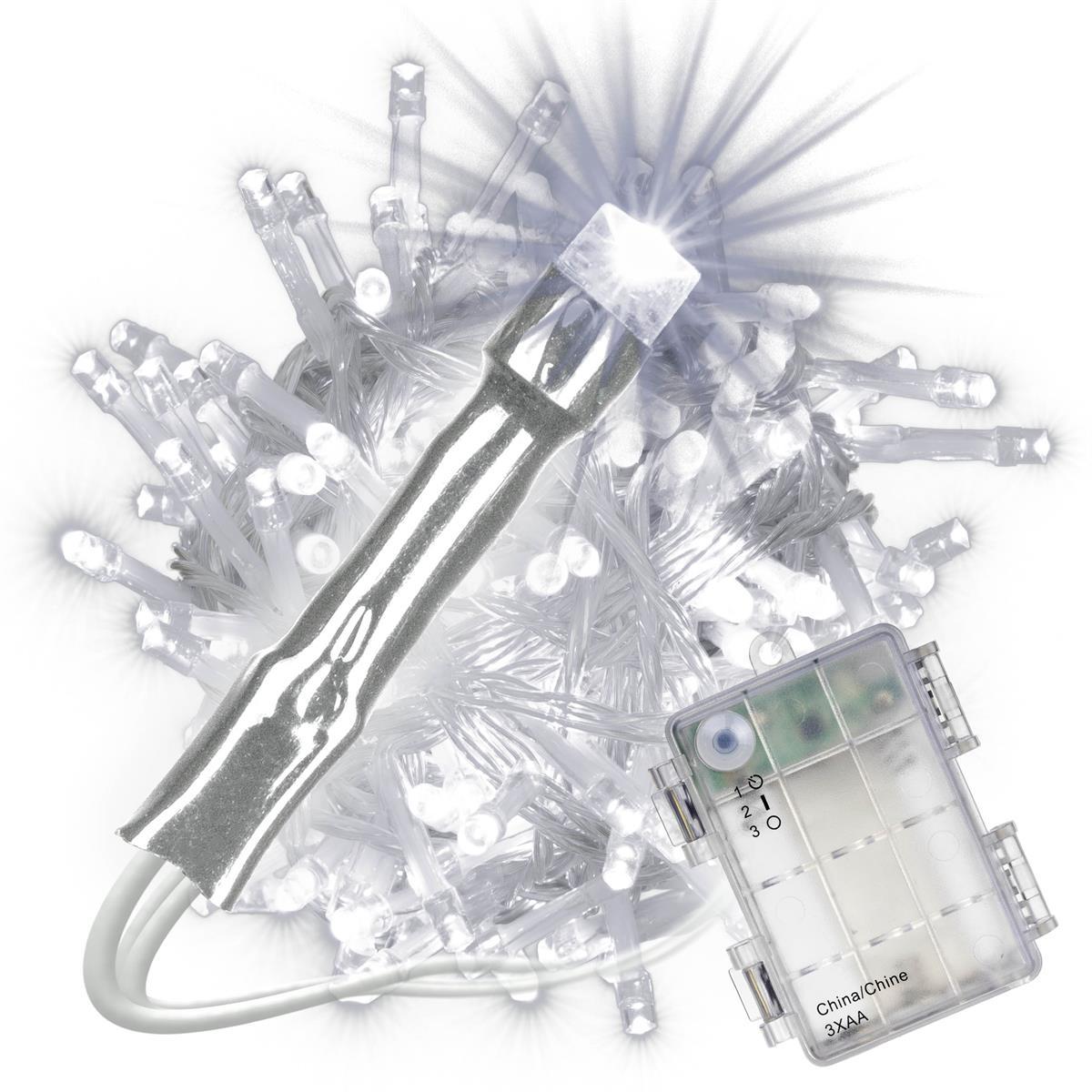 100 LED Lichterkette mit Timer weiß Batterie Kabel transparent Weihnachten Xmas
