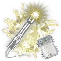 100 LED Lichterkette mit Timer warm weiß transparentes Kabel Batterie Xmas