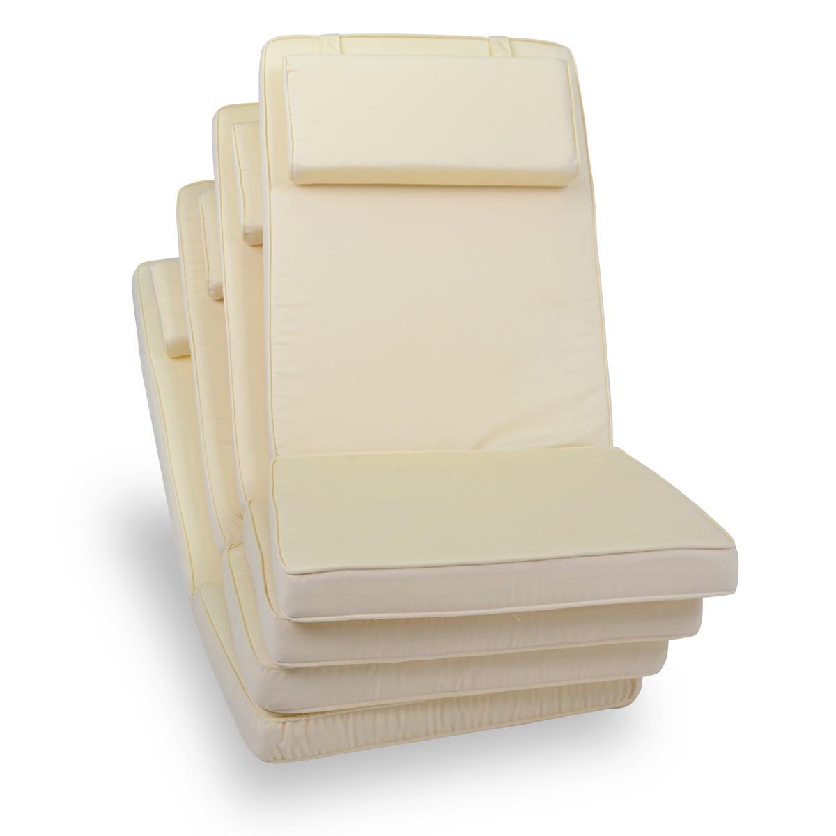 DIVERO 4er Set Sitzauflage Stuhlauflage Auflage Hochlehner Gartenstuhl creme