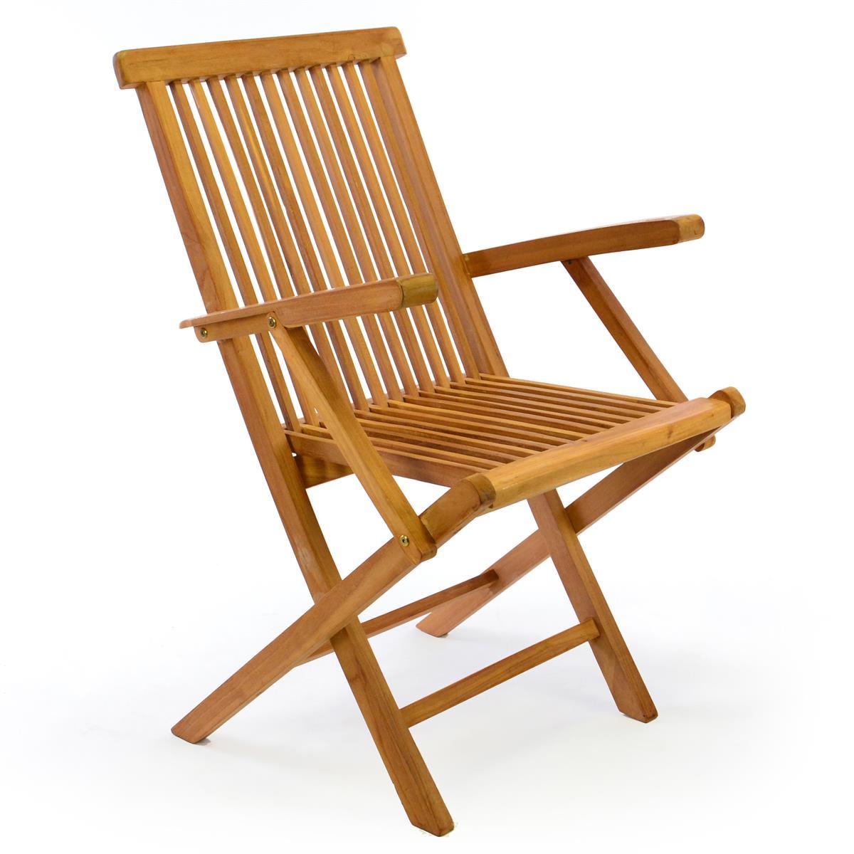 DIVERO Gartenstuhl mit Armlehne Stuhl Teak Holz klappbar massiv behandelt