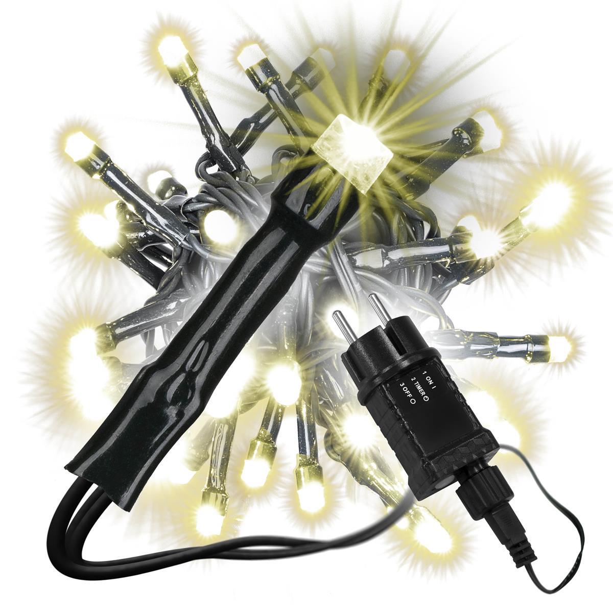 diLED 40 LED Lichterkette Starterset warmweiß erweiterbar System Trafo Timer