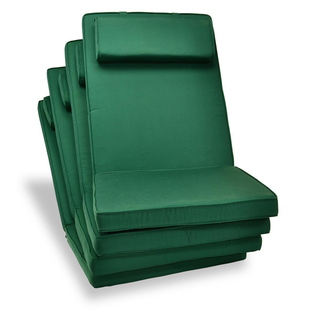 DIVERO 4er Set Sitzauflage Stuhlauflage Polster für Hochlehner Gartenstuhl grün