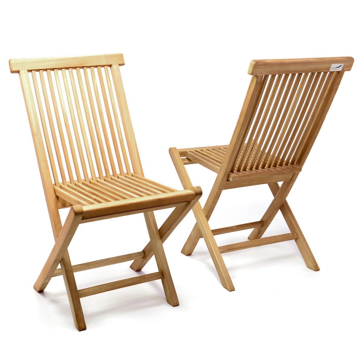 DIVERO 2er Set Gartenstuhl Teak Holz behandelt klappbar Holzstuhl Balkonstuhl