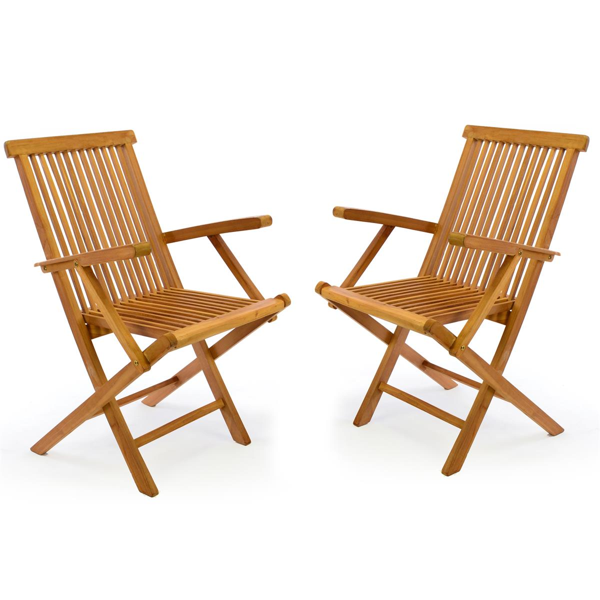 DIVERO 2er Set Hochlehner Klappstuhl Gartenstuhl Stuhl Teak Holz behandelt