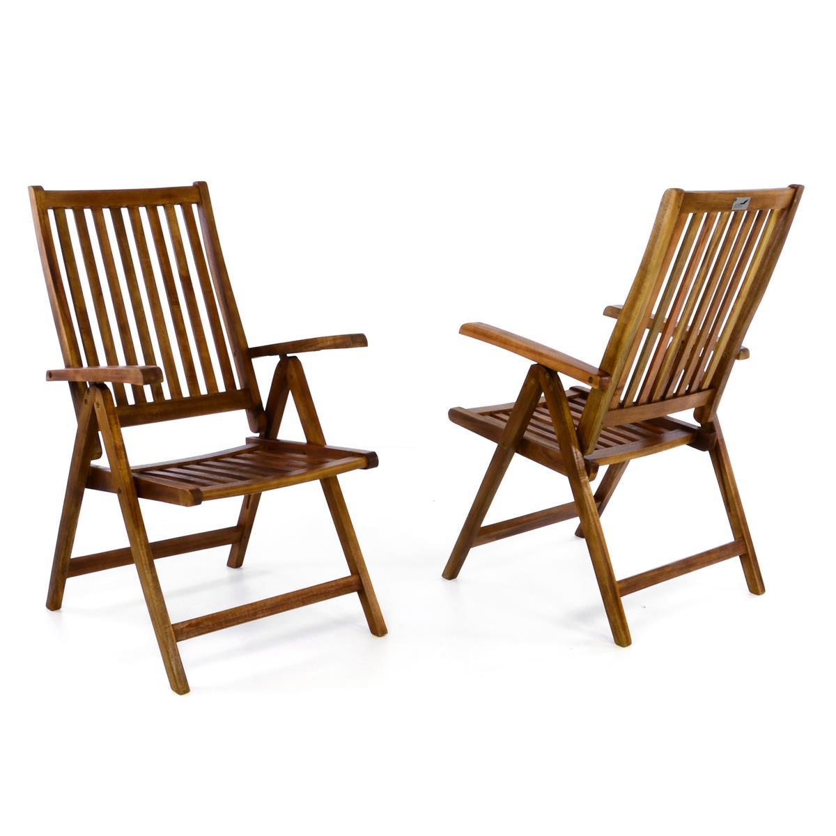 DIVERO 2er Set Gartenstuhl Hochlehner Klappstuhl Stuhl Akazie Holz behandelt