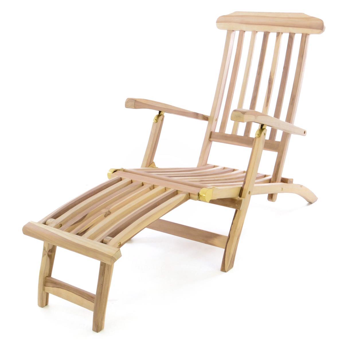 "DIVERO Liegestuhl Deckchair ""Florentine"" Fußteil abnehmbar Teak Holz natur"