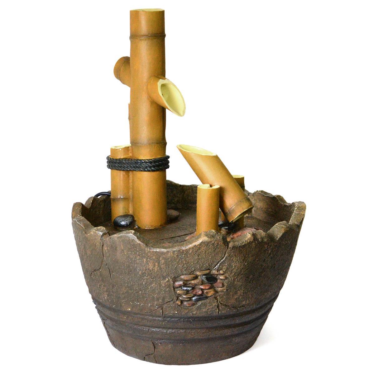 Gartenbrunnen Holzfass mit Bambus Wippe Wasserspiel