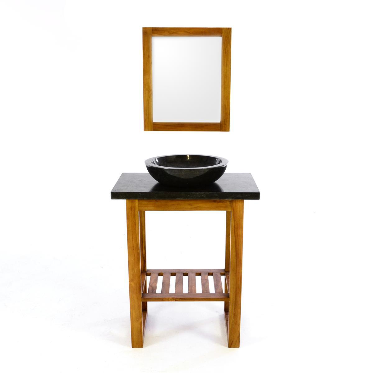 DIVERO Waschtisch Teak Waschschale Marmor Aufsatzwaschbecken Spiegel