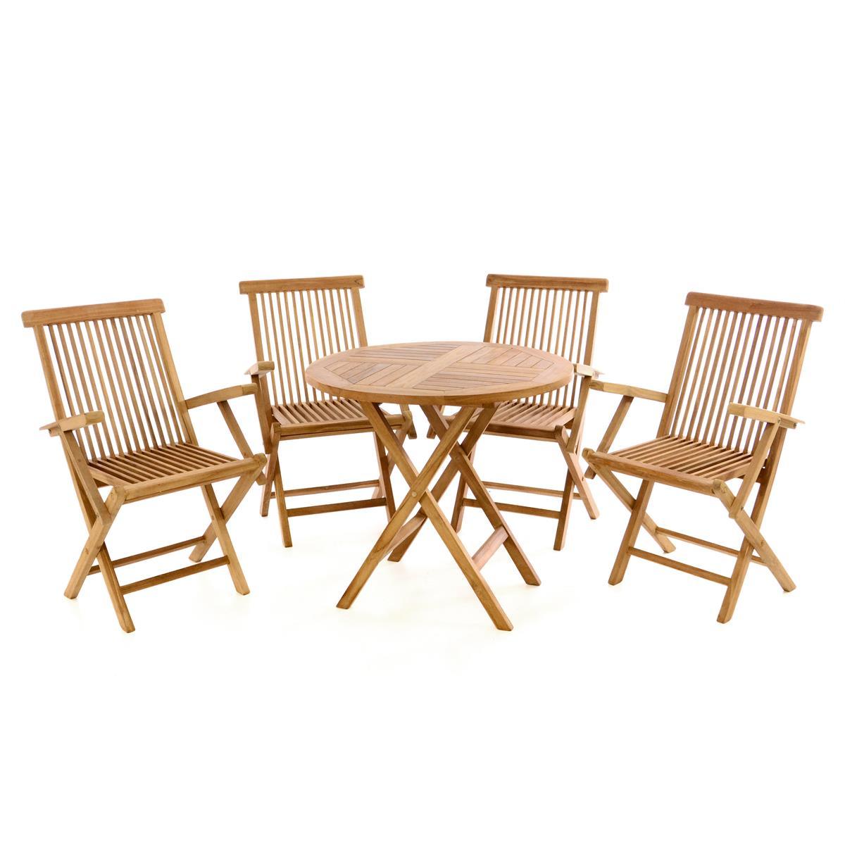 DIVERO Set Gartenmöbel Sitzgruppe Tisch Ø80cm Stühle Teak Holz behandelt