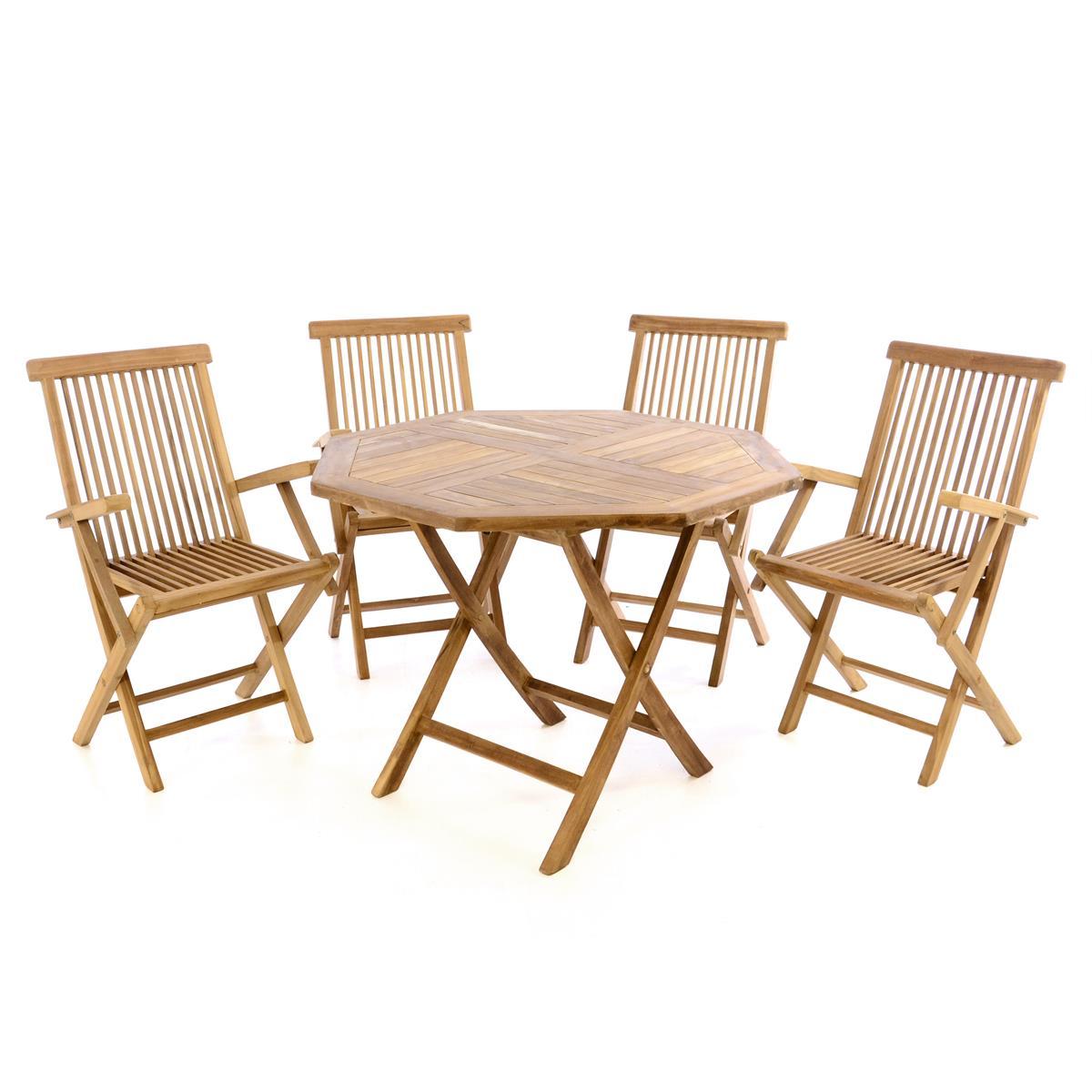 DIVERO Set Gartenmöbel Terrassenmöbel Sitzgruppe Teakholz Tisch Ø90cm