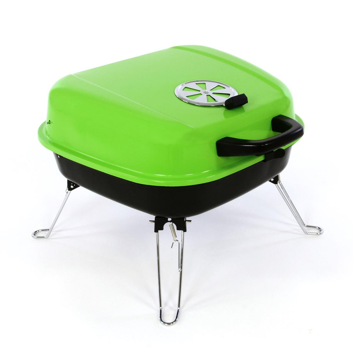 Koffergrill Holzkohlegrill BBQ Partygrill Minigrill grün Barbecue