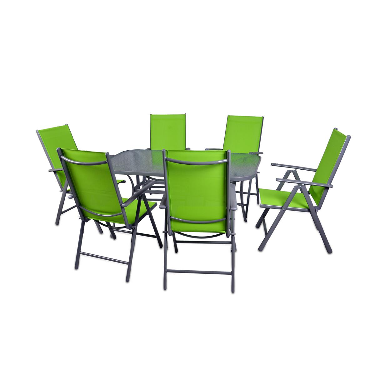 7-teiliges Gartenmöbel-Set grün Alu Gartengarnitur aus Gartenstühlen + Esstisch