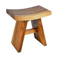DIVERO Hocker Suar Holz Sitzhocker Holzhocker massiv Handarbeit behandelt