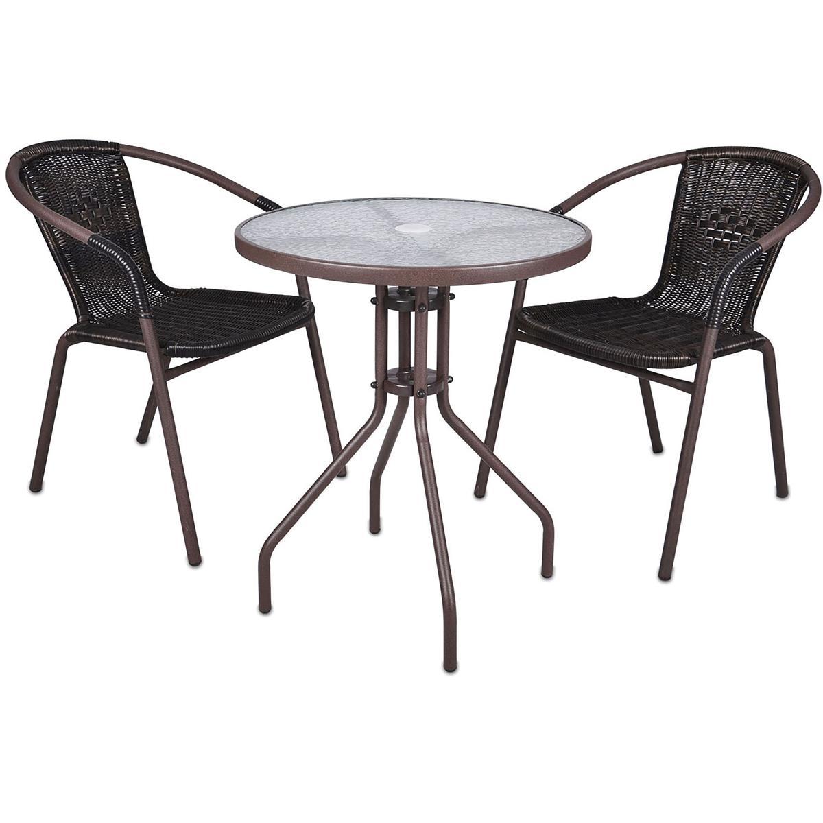 Bistroset Balkonset braun Sitzgarnitur aus Glastisch + Bistrostuhl Poly-Rattan