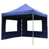 PROFI Falt Pavillon Partyzelt mit 4 Seitenteilen 3x3m blau wasserdichtes Dach