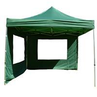 PROFI Falt Pavillon Partyzelt mit 4 Seitenteilen 3x3m grün wasserdichtes Dach