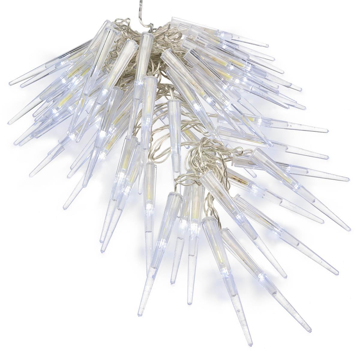 60 LED Eiszapfenkette Lichterkette Eiszapfen weiß Trafo Timer transparentes Kabe