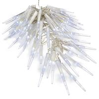 60 LED Eiszapfenkette Lichterkette Eiszapfen weiß Trafo Timer transparentes Kabel